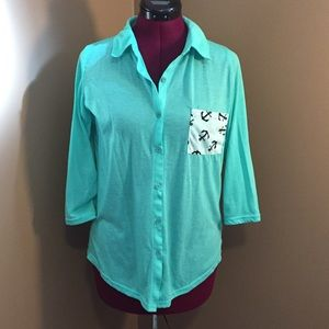Rue21 Mint Green 3/4 Sleeve Button Down Shirt